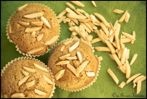 jam-filled almond oat muffins